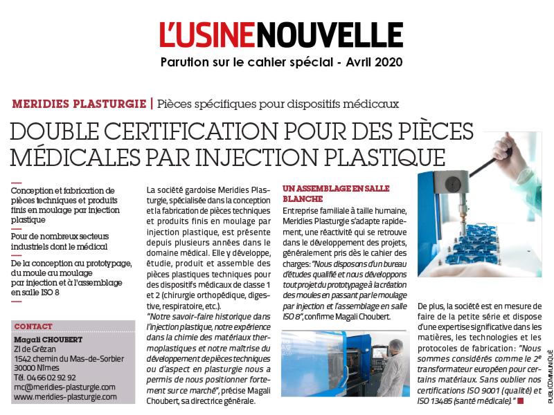 artcile paru sur l'usine nouvelle en avril 2020 - Injection plastique et salle blanche